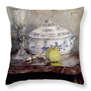 Morisot Berthe Tureen And Apple Throw Pillow by Berthe Morisot