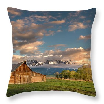 Mormon Row At Sunrise Throw Pillow