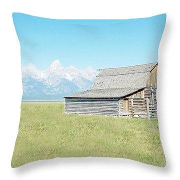 Mormon Row Barn - Grand Tetons Throw Pillow