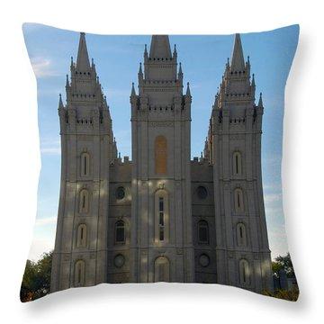 Mormon Temple Fall Throw Pillow by David Lee Thompson