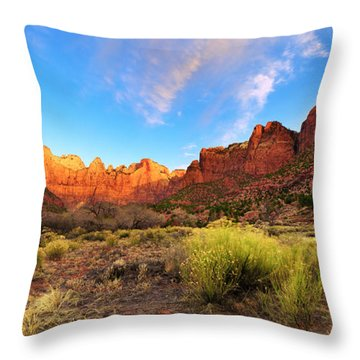 Morning Above Virgin Throw Pillow