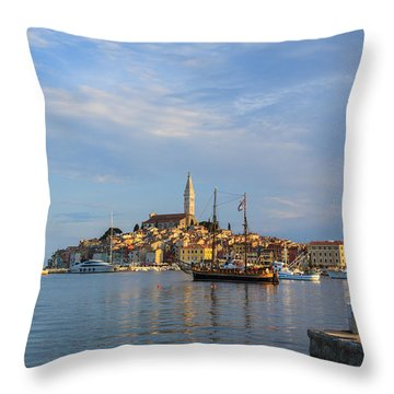 Throw Pillow featuring the photograph Morning Aquarelle In Rovinj by Davorin Mance