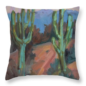 Throw Pillow featuring the painting Morning At Fort Apache by Diane McClary