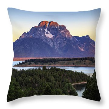 Throw Pillow featuring the photograph Morning At Mt. Moran by David Chandler