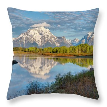 Morning At Oxbow Bend Throw Pillow