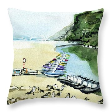 Throw Pillow featuring the painting Morning At Porto Novo Beach by Dora Hathazi Mendes