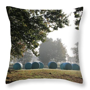 Morning At The Countryside With Bales Of Hay In Autumn Throw Pillow