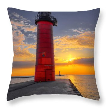 Morning At The Kenosha Lighthouse Throw Pillow