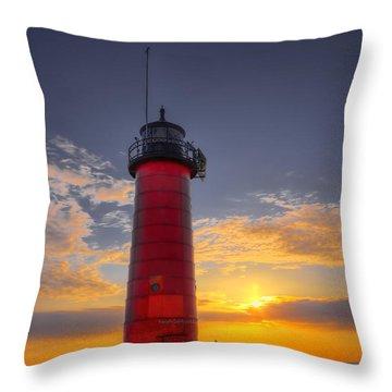 Morning At The Kenosha Lighthouse Throw Pillow