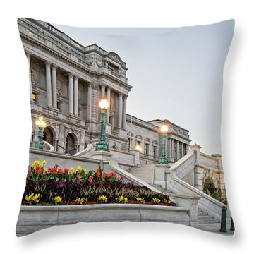 Throw Pillow featuring the photograph Morning At The Library Of Congress by Greg Mimbs