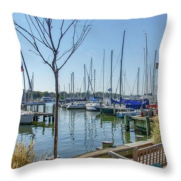 Morning At The Marina Throw Pillow