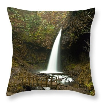 Morning At The Waterfall Throw Pillow