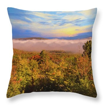 Morning Autumn Landscape Northern New Hampshire Throw Pillow