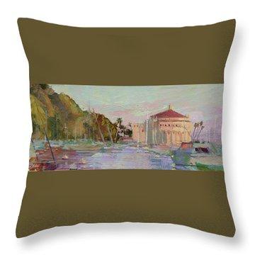 Morning Avalon Harbor - Catalina Island Throw Pillow