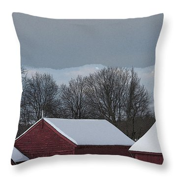 Morning Barnscape Throw Pillow