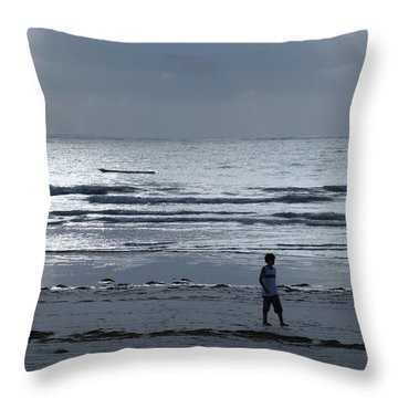 Morning Beach Walk On A Grey Day - Lone Dhow Throw Pillow