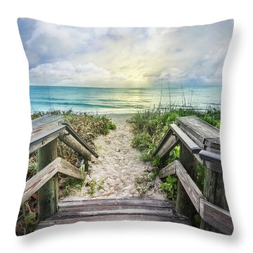 Throw Pillow featuring the photograph Morning Blues At The Dune by Debra and Dave Vanderlaan