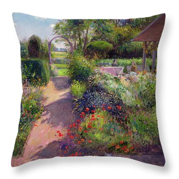 Morning Break In The Garden Throw Pillow