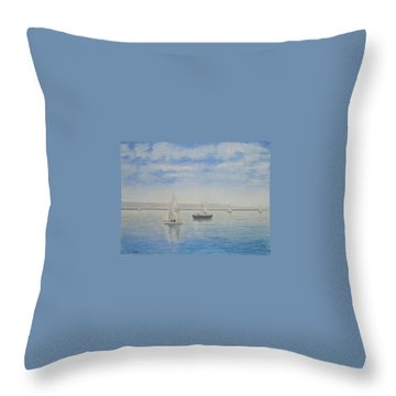 'morning Calm' - West Kirby Marine Lake Throw Pillow by Peter Farrow