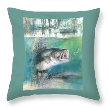 Throw Pillow featuring the painting Morning Catch by John Dyess