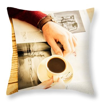 Morning Coffee Throw Pillow by Cesare Bargiggia