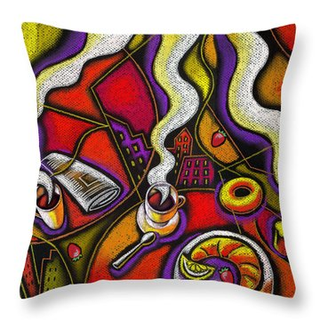 Throw Pillow featuring the painting Morning Coffee Cup And Muffin  by Leon Zernitsky