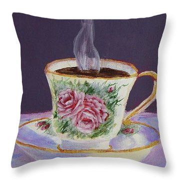 Morning Coffee Throw Pillow by Quwatha Valentine