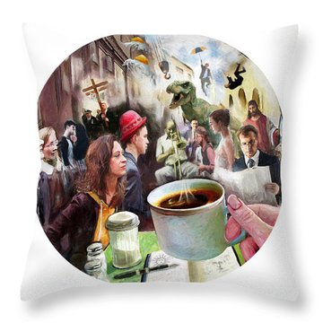 Morning Coffee With Eggs Over Easy Throw Pillow
