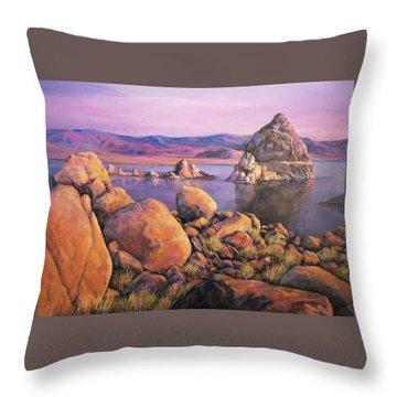 Morning Colors At Lake Pyramid Throw Pillow by Donna Tucker