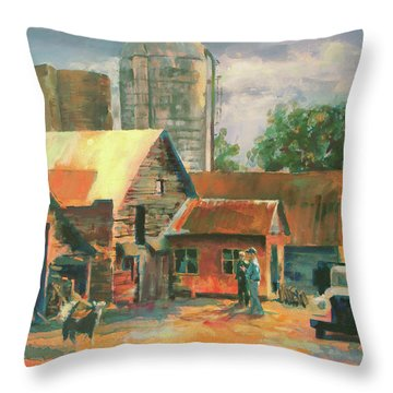 Morning Conference Throw Pillow by Carol Strickland