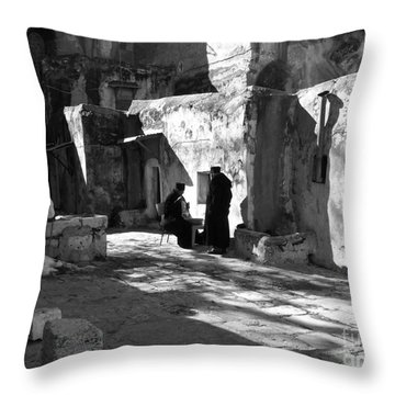 Morning Conversation In Bw Throw Pillow