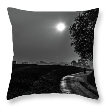 Morning Dew Bw Throw Pillow
