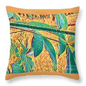 Morning Dew Drops In Puna Throw Pillow