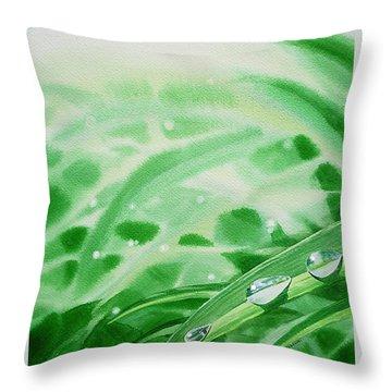 Morning Dew Drops Throw Pillow by Irina Sztukowski