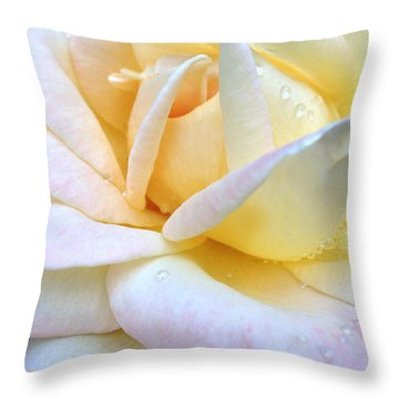 Morning Dew On A Pale Yellow Rose Throw Pillow