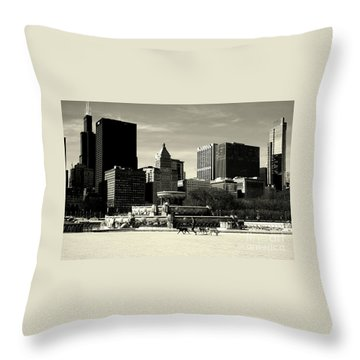 Morning Dog Walk - City Of Chicago Throw Pillow