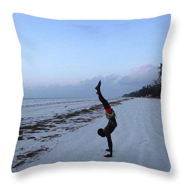 Morning Exercise On The Beach Throw Pillow