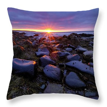 Morning Fire, Sunrise On The New Hampshire Seacoast  Throw Pillow