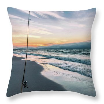 Throw Pillow featuring the photograph Morning Fishing At The Beach  by John McGraw