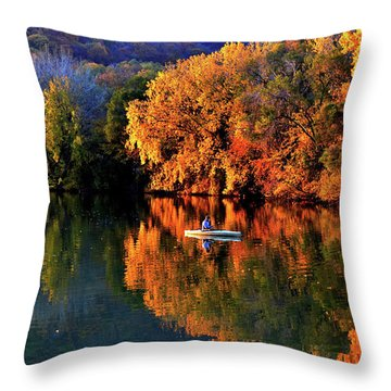 Morning Fishing On Lake Winona Throw Pillow