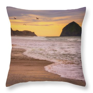 Throw Pillow featuring the photograph Morning Flight Over Cape Kiwanda by Darren White