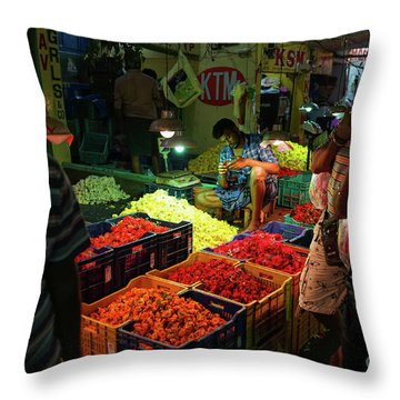 Throw Pillow featuring the photograph Morning Flower Market Colors by Mike Reid