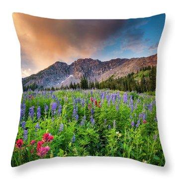 Morning Flowers In Little Cottonwood Canyon, Utah Throw Pillow