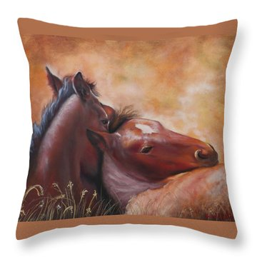 Morning Foals Throw Pillow
