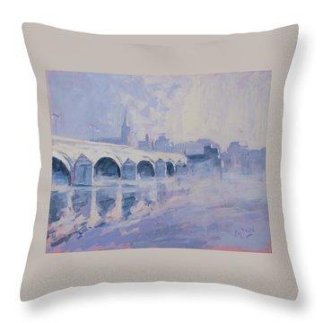 Morning Fog Around The Old Bridge Throw Pillow
