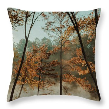 Throw Pillow featuring the photograph Morning Fog At The River by Iris Greenwell