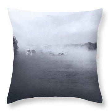Throw Pillow featuring the photograph Morning Fog - Hudson River by John Schneider