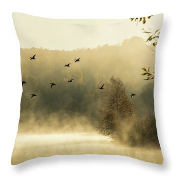 Morning Fog On Haley Pond In Rangeley Maine Throw Pillow