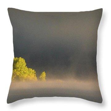 Morning Fog On Jackson Lake Grand Teton National Park  Throw Pillow