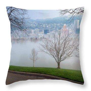 Morning Fog Over City Of Portland Skyline Throw Pillow by David Gn